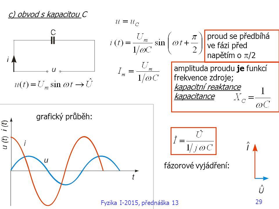 c) obvod s kapacitou C amplituda proudu je funkcí frekvence zdroje; kapacitní reaktance kapacitance grafický průběh: fázorové vyjádření: proud se před