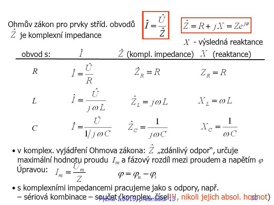 """v komplex. vyjádření Ohmova zákona: """"zdánlivý odpor"""", určuje maximální hodnotu proudu I m a fázový rozdíl mezi proudem a napětím  Úpravou: s komplexn"""