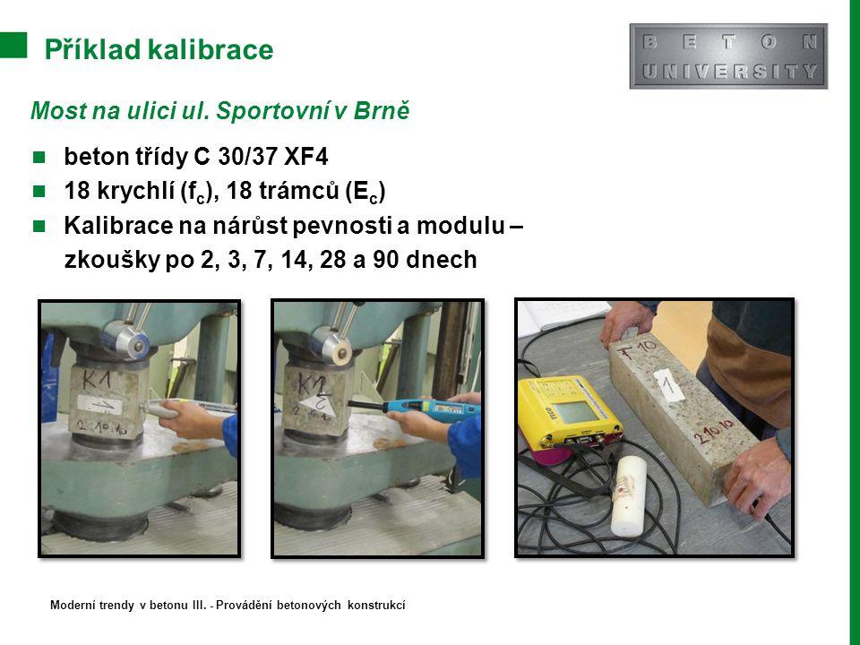 Příklad kalibrace Most na ulici ul. Sportovní v Brně beton třídy C 30/37 XF4 18 krychlí (f c ), 18 trámců (E c ) Kalibrace na nárůst pevnosti a modulu