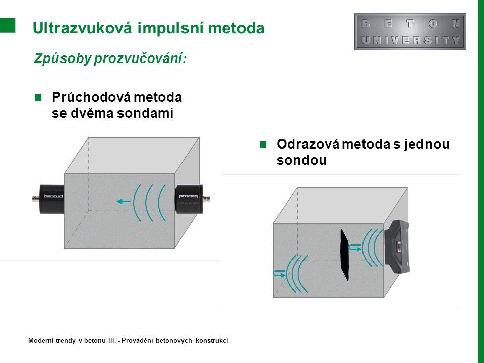 Ultrazvuková impulsní metoda Způsoby prozvučování: Průchodová metoda se dvěma sondami Odrazová metoda s jednou sondou Moderní trendy v betonu III. - P