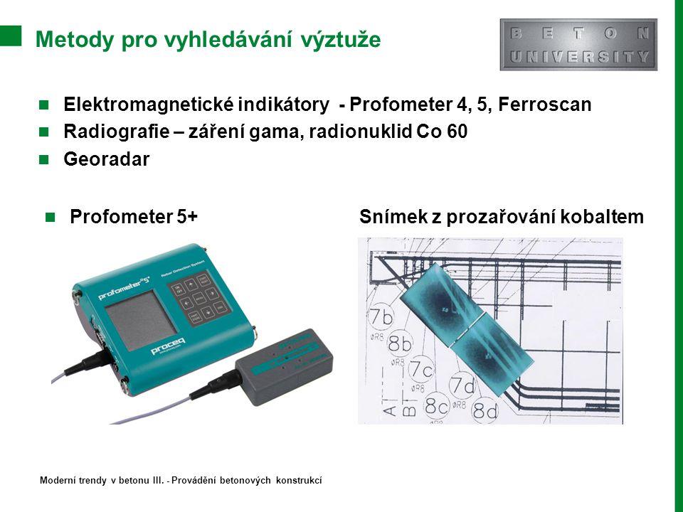 Metody pro vyhledávání výztuže Elektromagnetické indikátory - Profometer 4, 5, Ferroscan Radiografie – záření gama, radionuklid Co 60 Georadar Profome