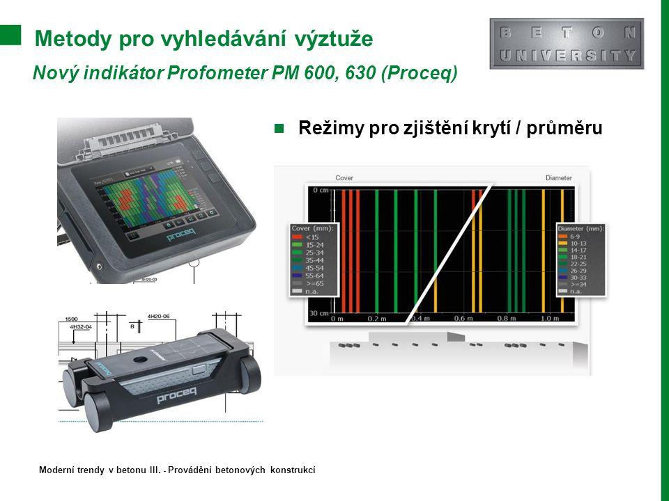 Metody pro vyhledávání výztuže Nový indikátor Profometer PM 600, 630 (Proceq) Režimy pro zjištění krytí / průměru Moderní trendy v betonu III. - Prová