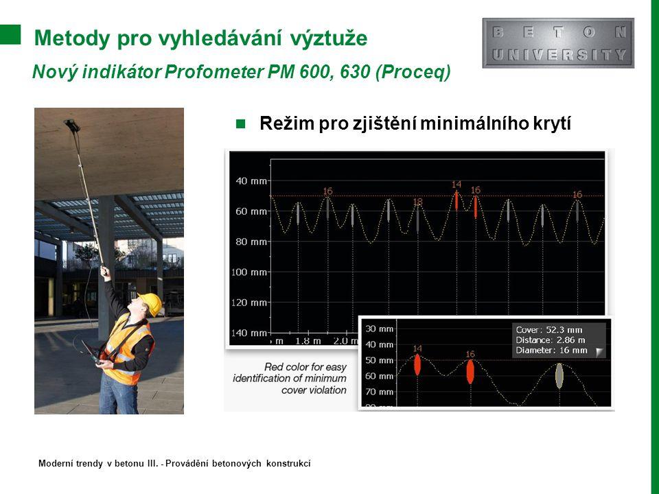 Metody pro vyhledávání výztuže Nový indikátor Profometer PM 600, 630 (Proceq) Režim pro zjištění minimálního krytí Moderní trendy v betonu III. - Prov