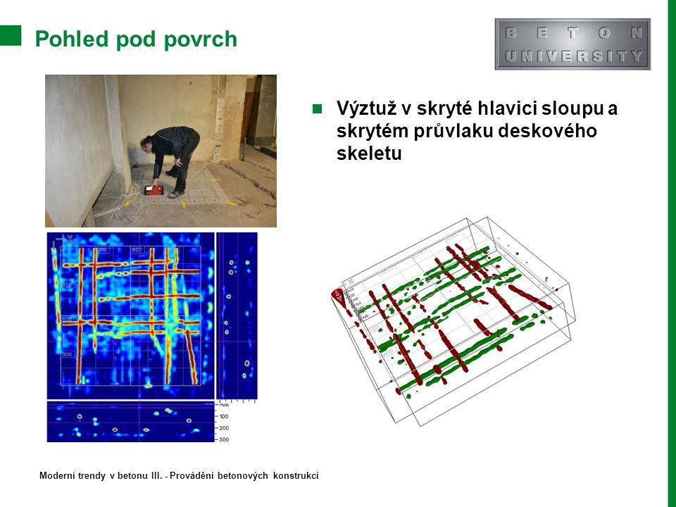 Pohled pod povrch Výztuž v skryté hlavici sloupu a skrytém průvlaku deskového skeletu Moderní trendy v betonu III. - Provádění betonových konstrukcí