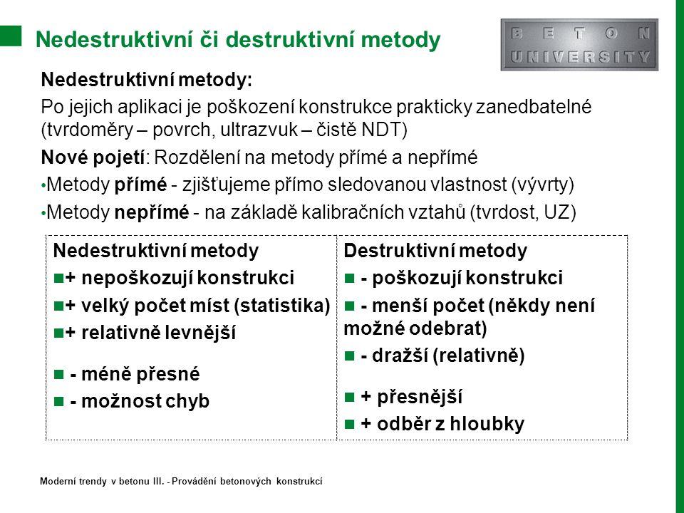 Nedestruktivní či destruktivní metody Nedestruktivní metody + nepoškozují konstrukci + velký počet míst (statistika) + relativně levnější - méně přesn
