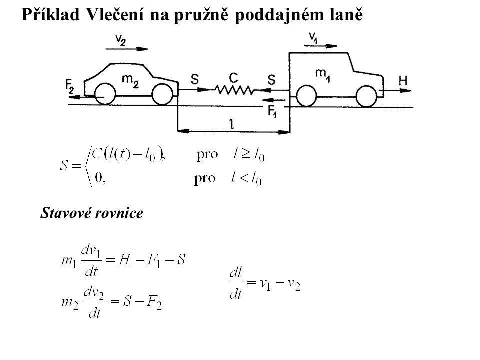 Příklad Vlečení na pružně poddajném laně Stavové rovnice