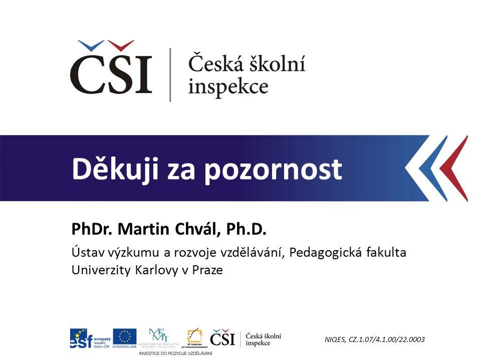 Děkuji za pozornost PhDr. Martin Chvál, Ph.D. Ústav výzkumu a rozvoje vzdělávání, Pedagogická fakulta Univerzity Karlovy v Praze NIQES, CZ.1.07/4.1.00
