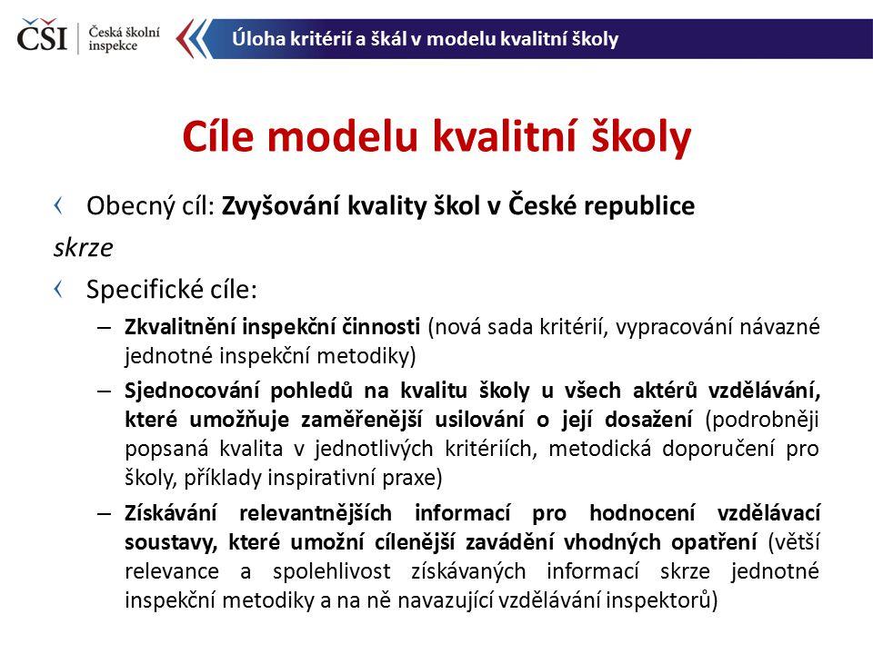 Obecný cíl: Zvyšování kvality škol v České republice skrze Specifické cíle: – Zkvalitnění inspekční činnosti (nová sada kritérií, vypracování návazné