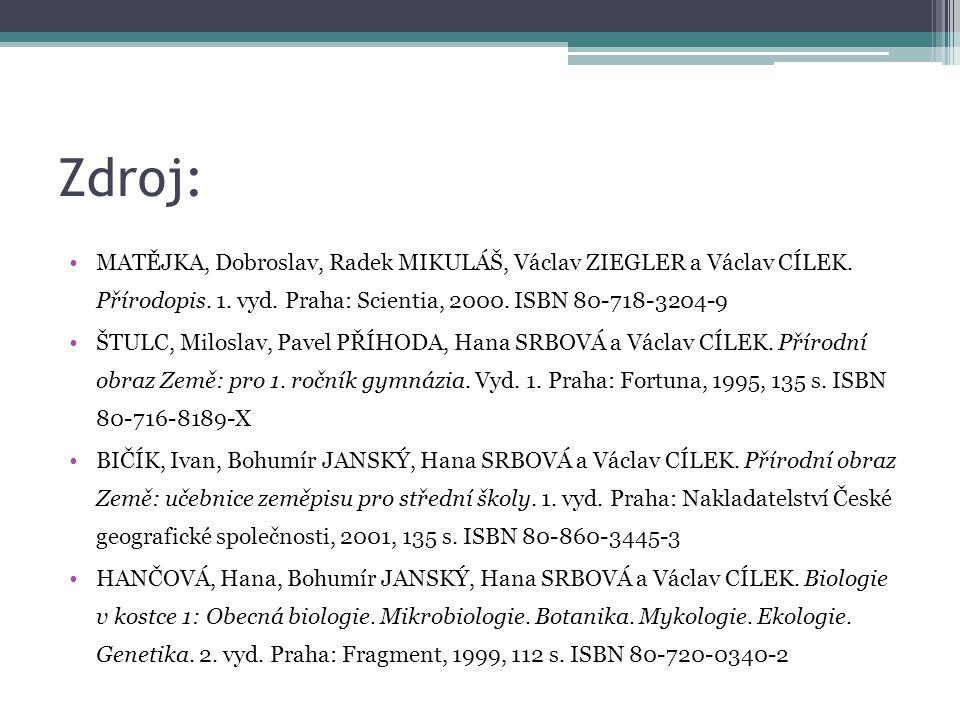Zdroj: MATĚJKA, Dobroslav, Radek MIKULÁŠ, Václav ZIEGLER a Václav CÍLEK. Přírodopis. 1. vyd. Praha: Scientia, 2000. ISBN 80-718-3204-9 ŠTULC, Miloslav