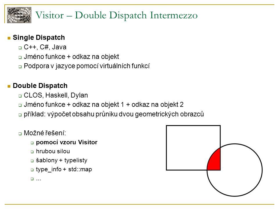Visitor – Double Dispatch Intermezzo Single Dispatch  C++, C#, Java  Jméno funkce + odkaz na objekt  Podpora v jazyce pomocí virtuálních funkcí Double Dispatch  CLOS, Haskell, Dylan  Jméno funkce + odkaz na objekt 1 + odkaz na objekt 2  příklad: výpočet obsahu průniku dvou geometrických obrazců  Možné řešení:  pomocí vzoru Visitor  hrubou silou  šablony + typelisty  type_info + std::map ...