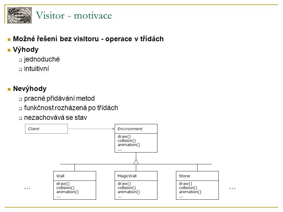 Visitor - motivace Možné řešení bez visitoru - operace v třídách Výhody  jednoduché  intuitivní Nevýhody  pracné přidávání metod  funkčnost rozház