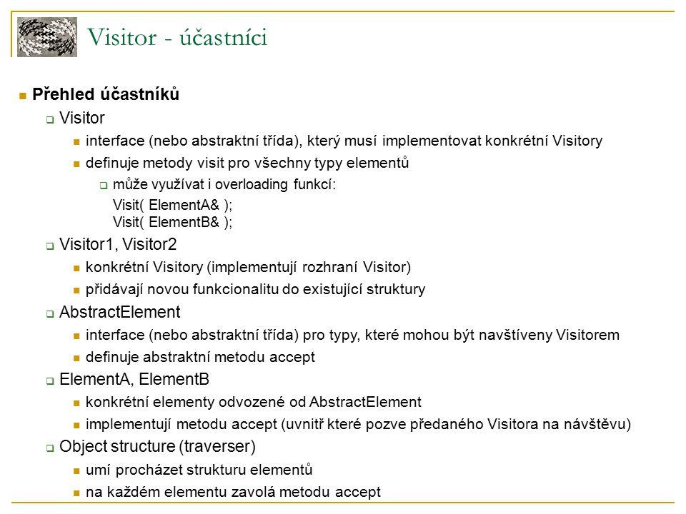 Visitor - účastníci Přehled účastníků  Visitor interface (nebo abstraktní třída), který musí implementovat konkrétní Visitory definuje metody visit pro všechny typy elementů  může využívat i overloading funkcí: Visit( ElementA& ); Visit( ElementB& );  Visitor1, Visitor2 konkrétní Visitory (implementují rozhraní Visitor) přidávají novou funkcionalitu do existující struktury  AbstractElement interface (nebo abstraktní třída) pro typy, které mohou být navštíveny Visitorem definuje abstraktní metodu accept  ElementA, ElementB konkrétní elementy odvozené od AbstractElement implementují metodu accept (uvnitř které pozve předaného Visitora na návštěvu)  Object structure (traverser) umí procházet strukturu elementů na každém elementu zavolá metodu accept