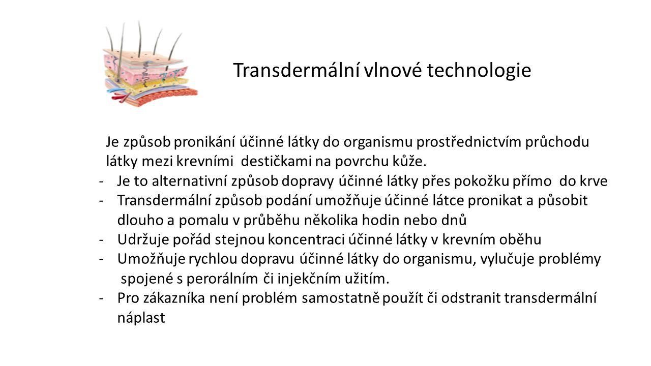 Transdermální vlnové technologie Je způsob pronikání účinné látky do organismu prostřednictvím průchodu látky mezi krevními destičkami na povrchu kůže.