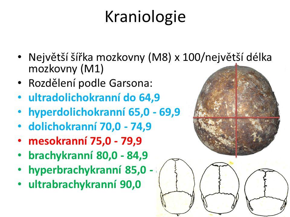 Největší šířka mozkovny (M8) x 100/největší délka mozkovny (M1) Rozdělení podle Garsona: ultradolichokranní do 64,9 hyperdolichokranní 65,0 - 69,9 dol