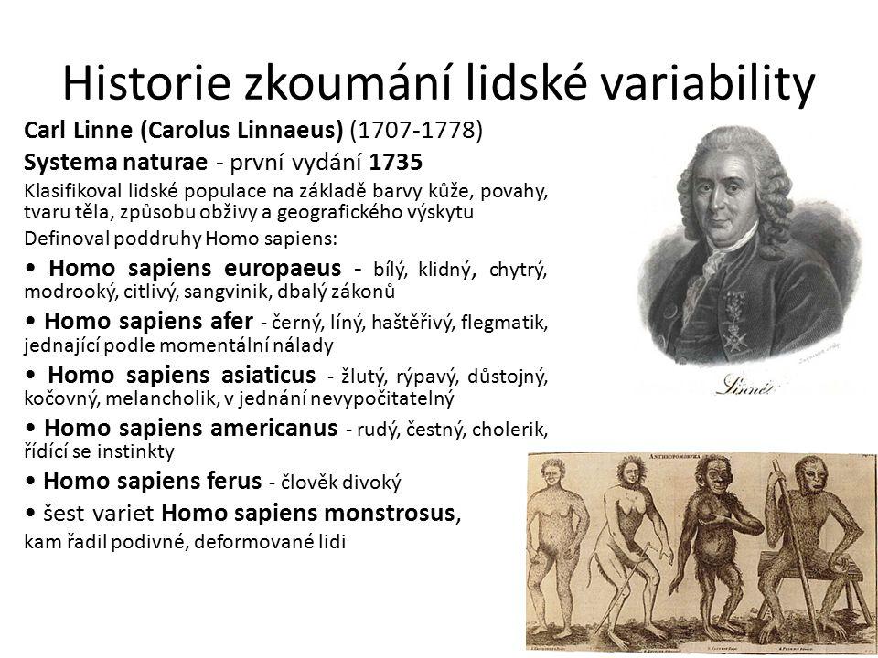 Historie zkoumání lidské variability Carl Linne (Carolus Linnaeus) (1707-1778) Systema naturae - první vydání 1735 Klasifikoval lidské populace na zák