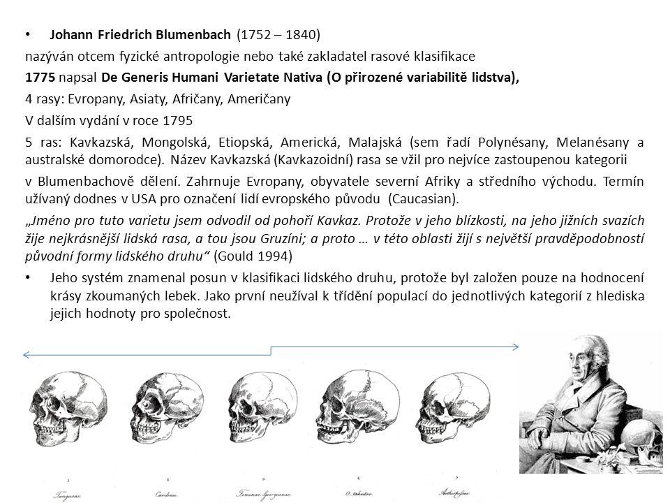 Johann Friedrich Blumenbach (1752 – 1840) nazýván otcem fyzické antropologie nebo také zakladatel rasové klasifikace 1775 napsal De Generis Humani Var
