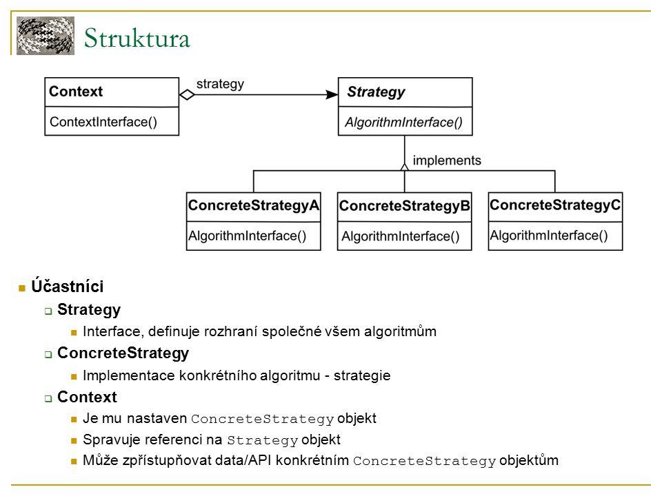 Struktura Účastníci  Strategy Interface, definuje rozhraní společné všem algoritmům  ConcreteStrategy Implementace konkrétního algoritmu - strategie  Context Je mu nastaven ConcreteStrategy objekt Spravuje referenci na Strategy objekt Může zpřístupňovat data/API konkrétním ConcreteStrategy objektům