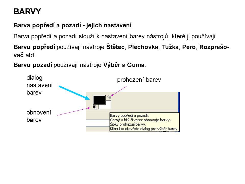 """Nastavení barvy popředí a pozadí 1.Klepneme na černý (bílý) obdélníček  otevře se dialogové okno """"Změnit barvu popředí (pozadí): Otevře se dialogové okno s těmito záložkami: GIMP CMYK vodová barva barevný kruh paleta"""