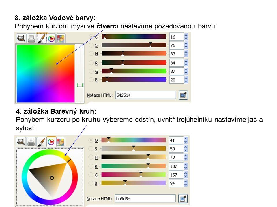 4. záložka Barevný kruh: Pohybem kurzoru po kruhu vybereme odstín, uvnitř trojúhelníku nastavíme jas a sytost: 3. záložka Vodové barvy: Pohybem kurzor