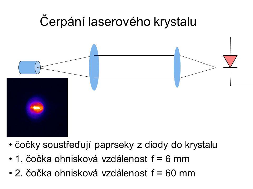čočky soustřeďují paprseky z diody do krystalu 1. čočka ohnisková vzdálenost f = 6 mm 2. čočka ohnisková vzdálenost f = 60 mm Čerpání laserového kryst