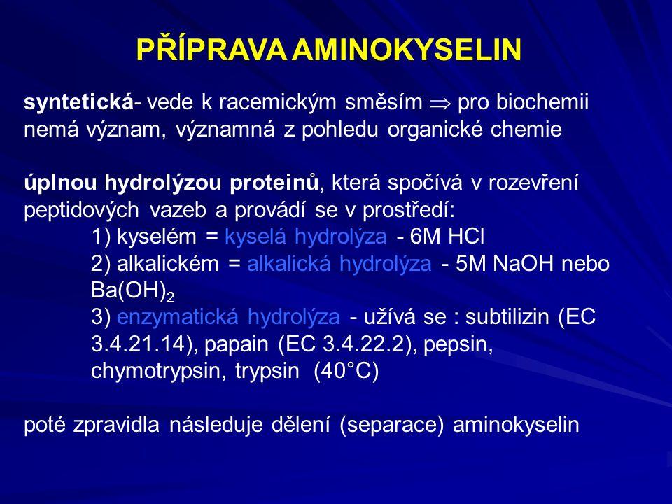 syntetická- vede k racemickým směsím  pro biochemii nemá význam, významná z pohledu organické chemie úplnou hydrolýzou proteinů, která spočívá v roze