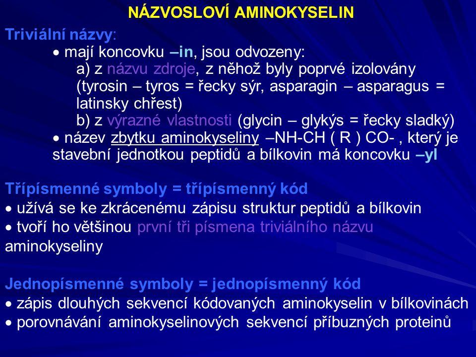 NÁZVOSLOVÍ AMINOKYSELIN Triviální názvy:  mají koncovku –in, jsou odvozeny: a) z názvu zdroje, z něhož byly poprvé izolovány (tyrosin – tyros = řecky