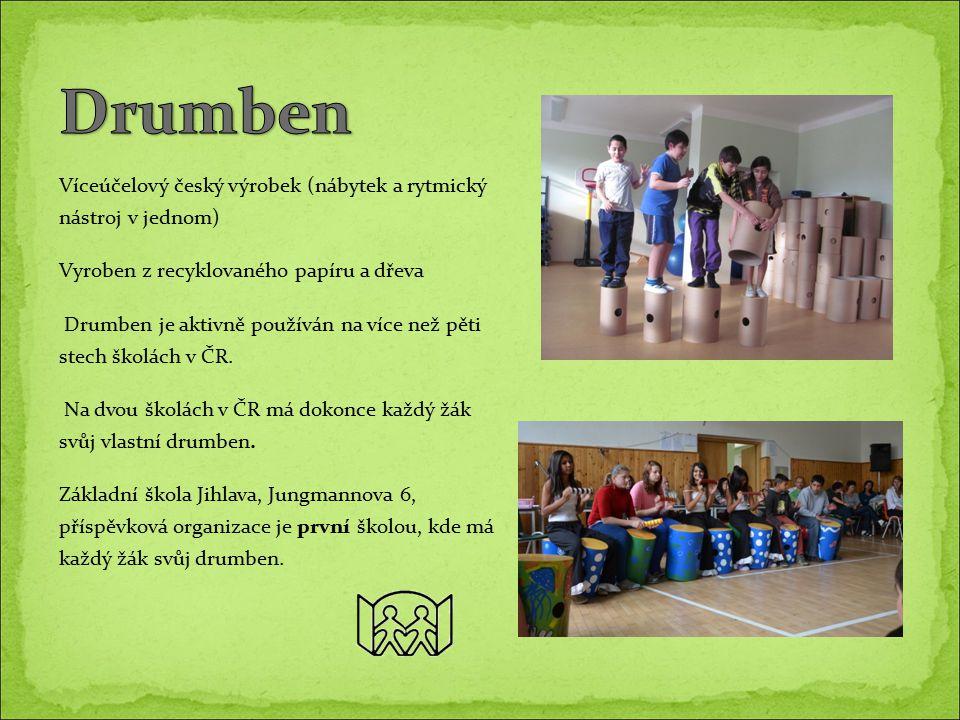 Víceúčelový český výrobek (nábytek a rytmický nástroj v jednom) Vyroben z recyklovaného papíru a dřeva Drumben je aktivně používán na více než pěti stech školách v ČR.