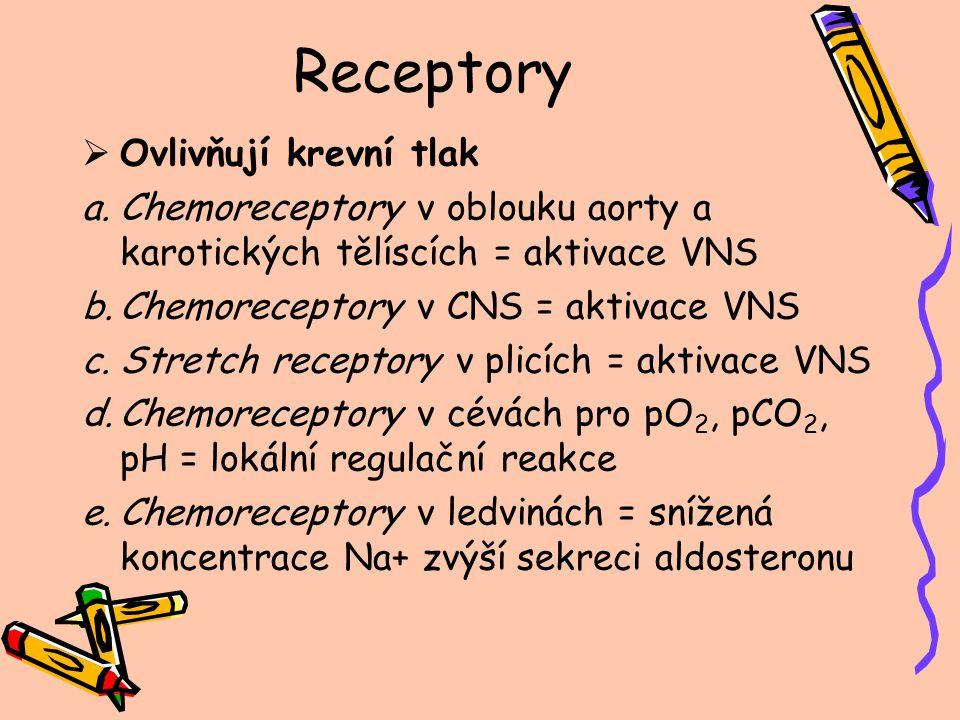 Receptory  Ovlivňují krevní tlak a.Chemoreceptory v oblouku aorty a karotických tělíscích = aktivace VNS b.Chemoreceptory v CNS = aktivace VNS c.Stre