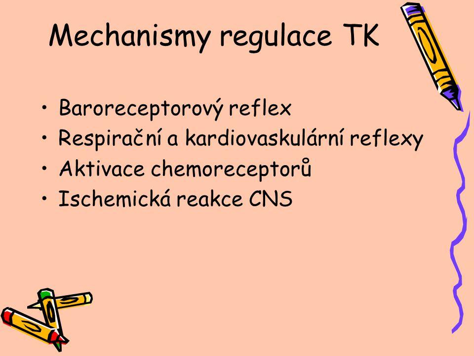 Mechanismy regulace TK Baroreceptorový reflex Respirační a kardiovaskulární reflexy Aktivace chemoreceptorů Ischemická reakce CNS