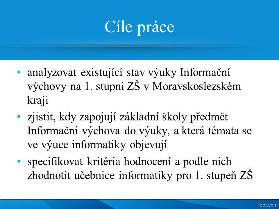 Cíle práce analyzovat existující stav výuky Informační výchovy na 1. stupni ZŠ v Moravskoslezském kraji zjistit, kdy zapojují základní školy předmět I