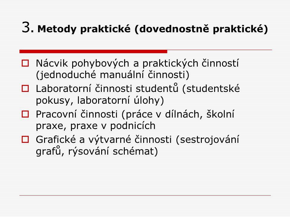 3. Metody praktické (dovednostně praktické)  Nácvik pohybových a praktických činností (jednoduché manuální činnosti)  Laboratorní činnosti studentů