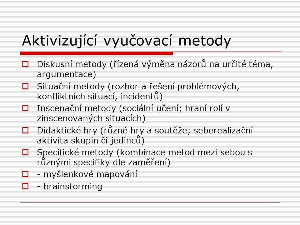 Aktivizující vyučovací metody  Diskusní metody (řízená výměna názorů na určité téma, argumentace)  Situační metody (rozbor a řešení problémových, konfliktních situací, incidentů)  Inscenační metody (sociální učení; hraní rolí v zinscenovaných situacích)  Didaktické hry (různé hry a soutěže; seberealizační aktivita skupin či jedinců)  Specifické metody (kombinace metod mezi sebou s různými specifiky dle zaměření)  - myšlenkové mapování  - brainstorming