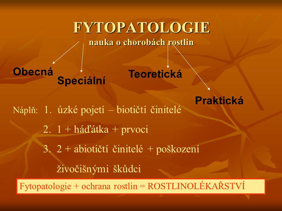 FYTOPATOLOGIE nauka o chorobách rostlin Obecná Speciální Teoretická Praktická Náplň: 1. úzké pojetí – biotičtí činitelé 2. 1 + háďátka + prvoci 3. 2 +