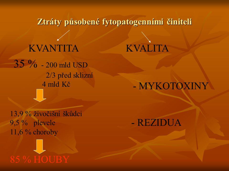 Ztráty působené fytopatogenními činiteli KVALITAKVANTITA 35 % - 200 mld USD 2/3 před sklizní 4 mld Kč 13,9 % živočišní škůdci 9,5 % plevele 11,6 % cho