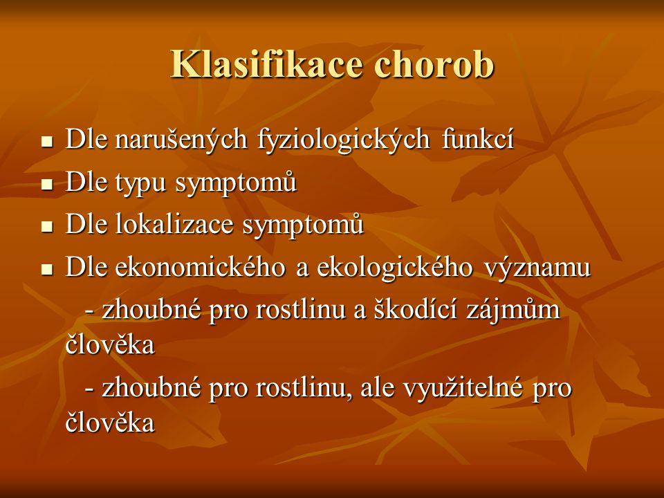 Klasifikace chorob Dle narušených fyziologických funkcí Dle narušených fyziologických funkcí Dle typu symptomů Dle typu symptomů Dle lokalizace sympto