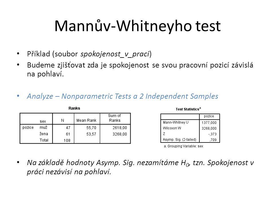 Mannův-Whitneyho test Příklad (soubor spokojenost_v_praci) Budeme zjišťovat zda je spokojenost se svou pracovní pozicí závislá na pohlaví.