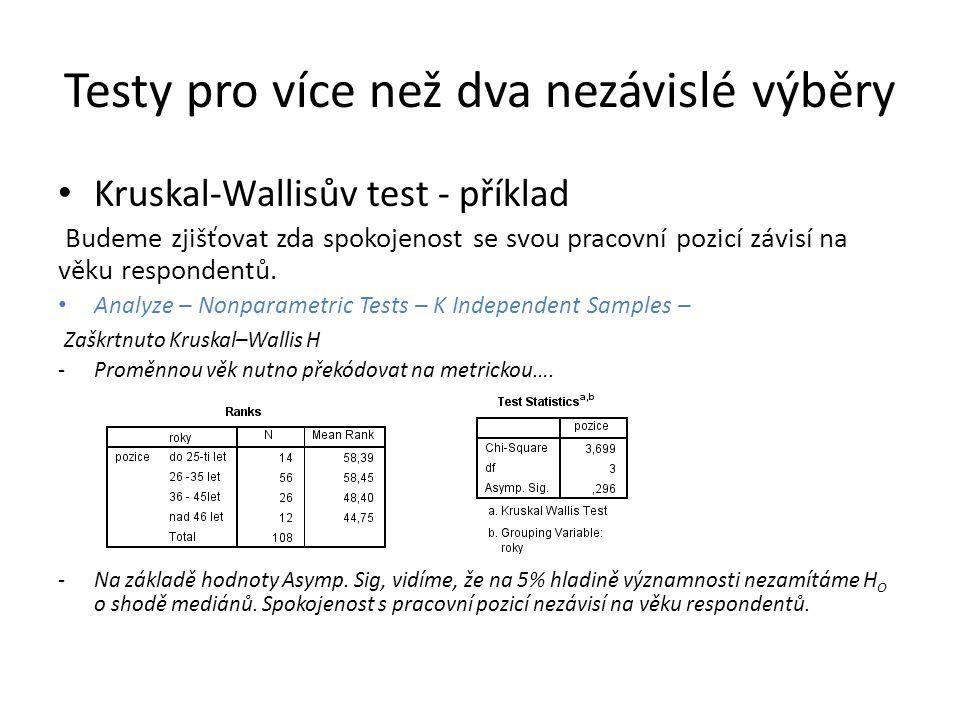 Testy pro více než dva nezávislé výběry Kruskal-Wallisův test - příklad Budeme zjišťovat zda spokojenost se svou pracovní pozicí závisí na věku respondentů.