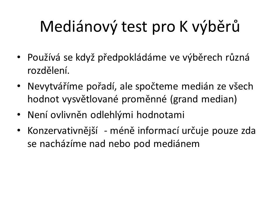 Mediánový test pro K výběrů Používá se když předpokládáme ve výběrech různá rozdělení.