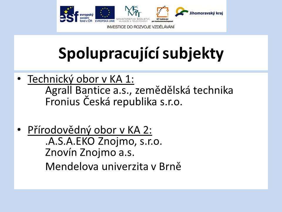Spolupracující subjekty Technický obor v KA 1: Agrall Bantice a.s., zemědělská technika Fronius Česká republika s.r.o. Přírodovědný obor v KA 2:.A.S.A