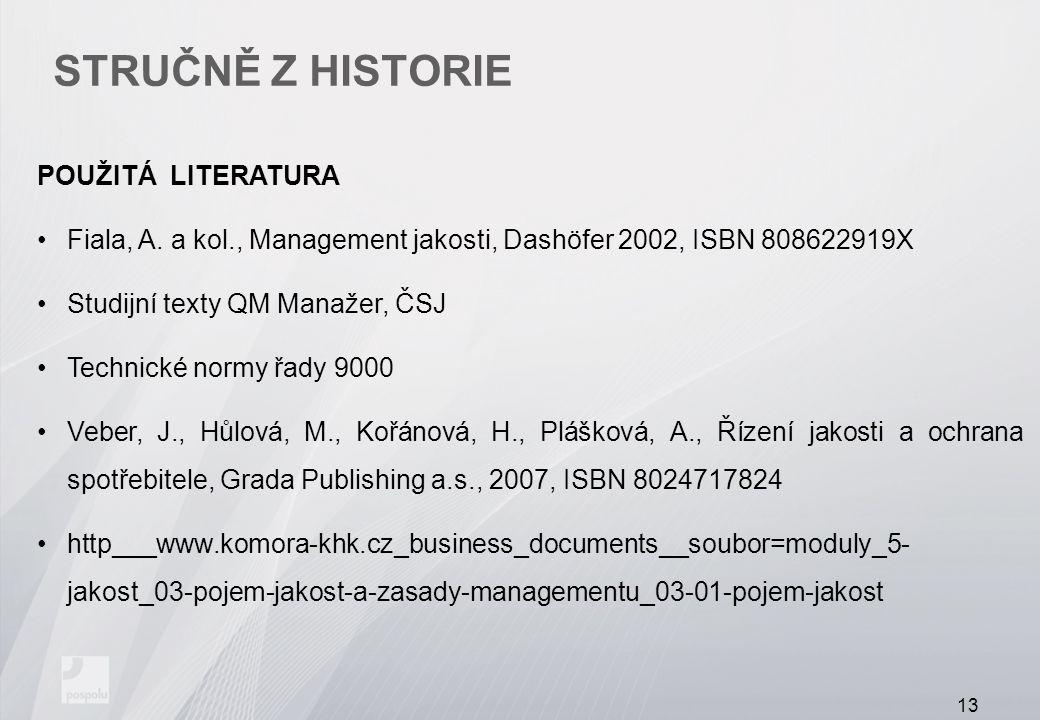STRUČNĚ Z HISTORIE POUŽITÁ LITERATURA Fiala, A. a kol., Management jakosti, Dashöfer 2002, ISBN 808622919X Studijní texty QM Manažer, ČSJ Technické no