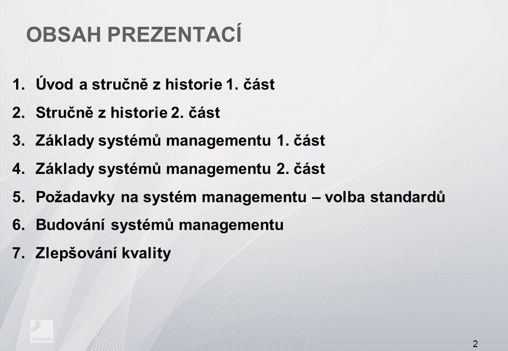 OBSAH PREZENTACÍ 1.Úvod a stručně z historie 1. část 2.Stručně z historie 2. část 3.Základy systémů managementu 1. část 4.Základy systémů managementu