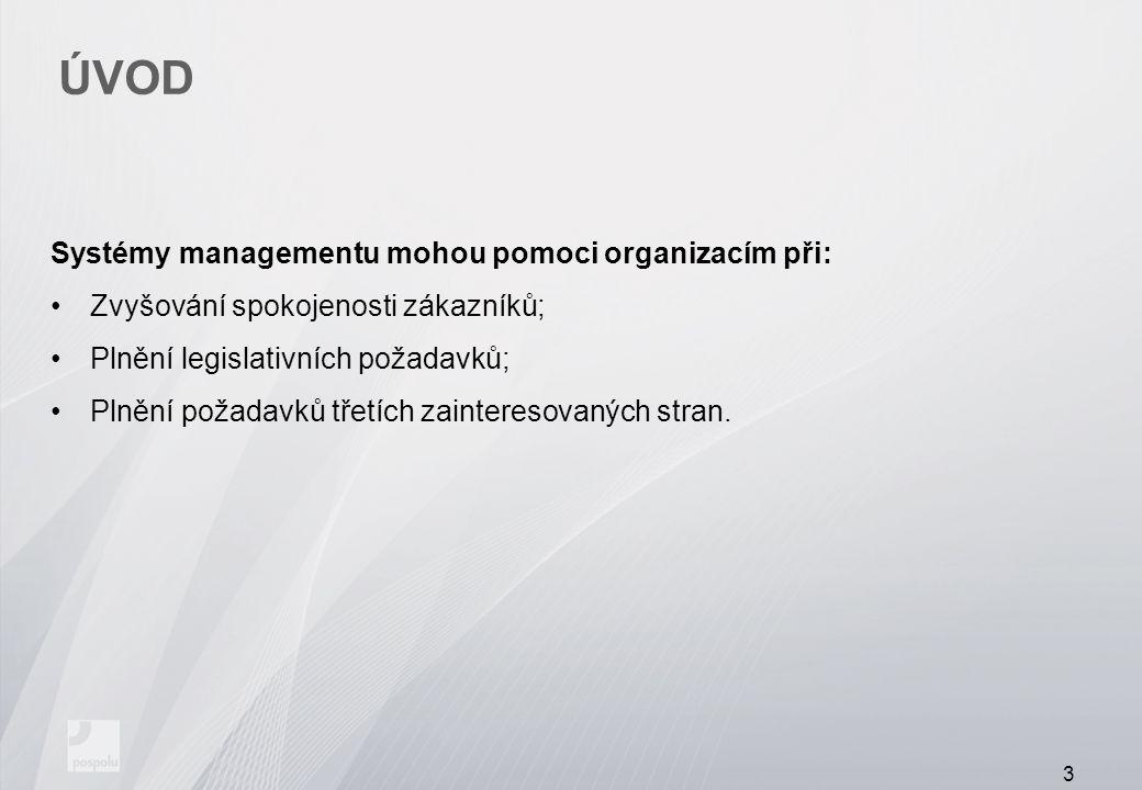 ÚVOD Systémy managementu mohou pomoci organizacím při: Zvyšování spokojenosti zákazníků; Plnění legislativních požadavků; Plnění požadavků třetích zai