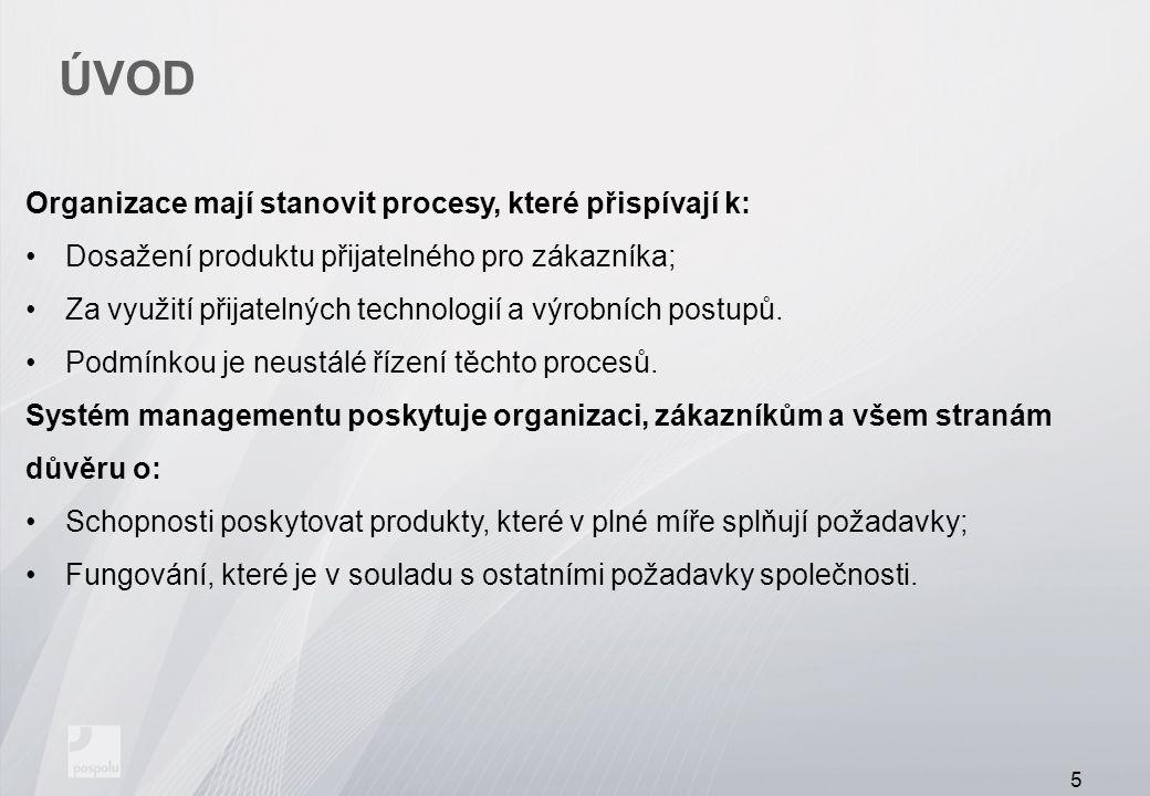 ÚVOD Organizace mají stanovit procesy, které přispívají k: Dosažení produktu přijatelného pro zákazníka; Za využití přijatelných technologií a výrobní