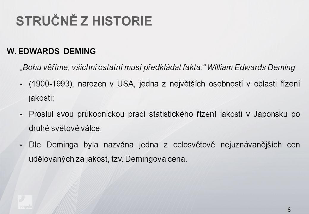 """STRUČNĚ Z HISTORIE W. EDWARDS DEMING """"Bohu věříme, všichni ostatní musí předkládat fakta."""" William Edwards Deming (1900-1993), narozen v USA, jedna z"""