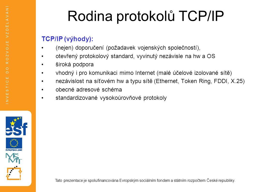 Rodina protokolů TCP/IP Standardy protokolů protokol = pravidla chování (např.