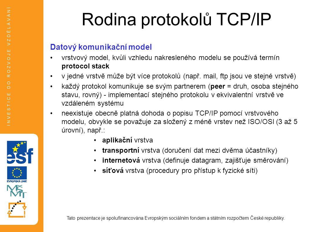 Rodina protokolů TCP/IP Datové struktury - terminologie podle použitého transportního protokolu (viz dále) se datové struktury transportní a aplikační vrstvy liší Tato prezentace je spolufinancována Evropským sociálním fondem a státním rozpočtem České republiky.