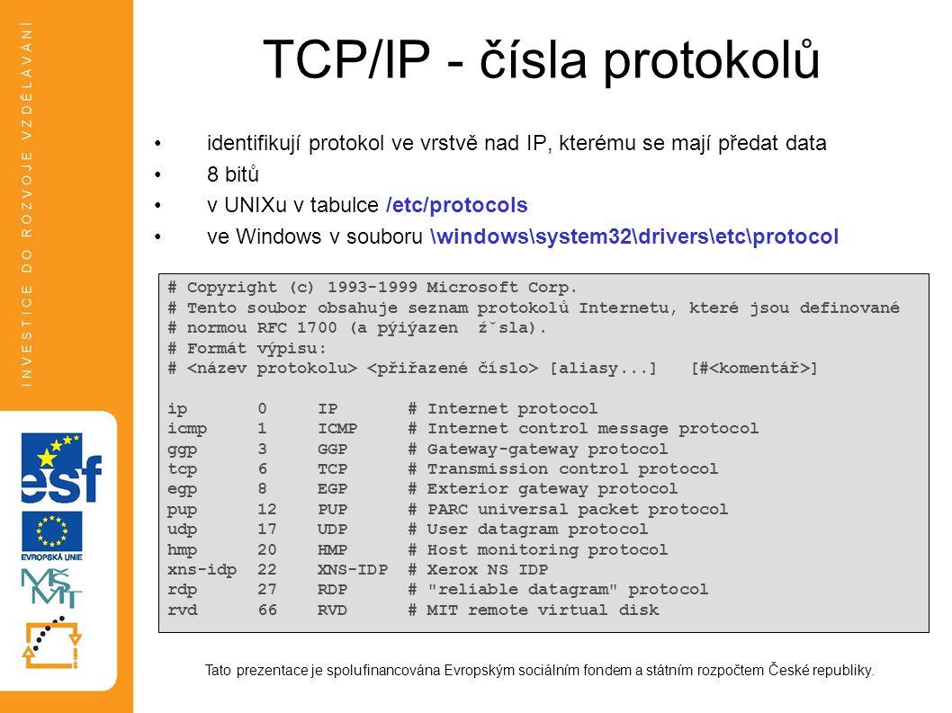 TCP/IP - čísla portů transportní protokol předává data procesu odpovídající aplikace (síťové službě) 16 bitů zdrojový port, cílový port v UNIXu v tabulce /etc/services ve Windows v \windows\system32\drivers\etc\services Tato prezentace je spolufinancována Evropským sociálním fondem a státním rozpočtem České republiky.