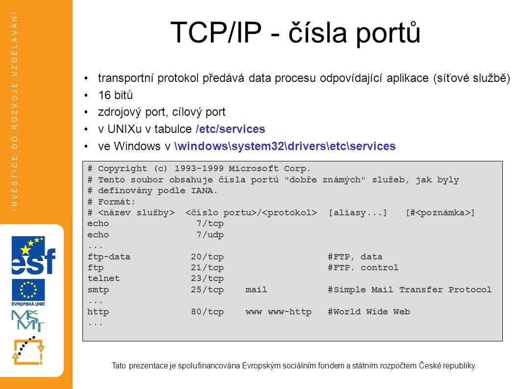 TCP/IP - sockety Tato prezentace je spolufinancována Evropským sociálním fondem a státním rozpočtem České republiky.