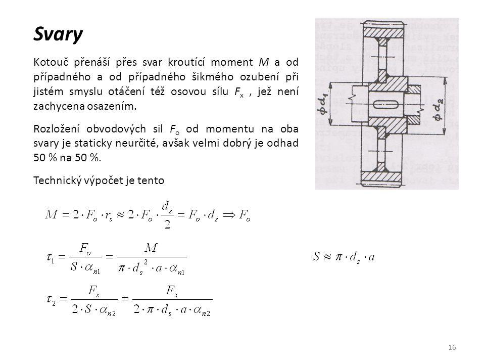16 Svary Kotouč přenáší přes svar kroutící moment M a od případného a od případného šikmého ozubení při jistém smyslu otáčení též osovou sílu F x, jež