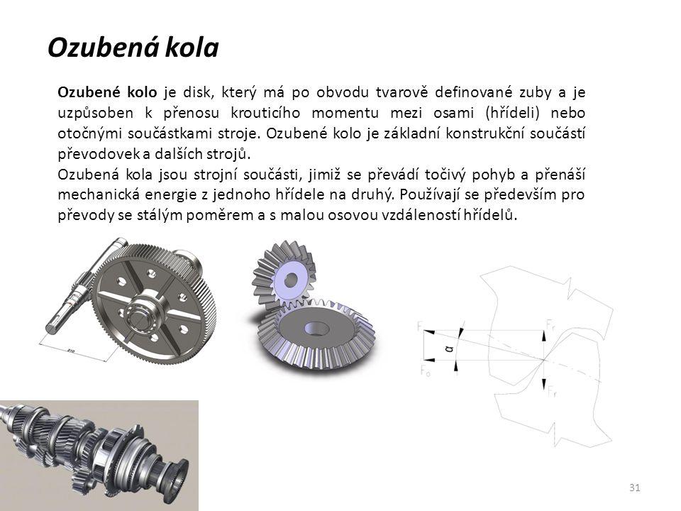 31 Ozubená kola Ozubené kolo je disk, který má po obvodu tvarově definované zuby a je uzpůsoben k přenosu krouticího momentu mezi osami (hřídeli) nebo